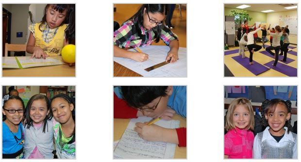 A collage of students doing various school work